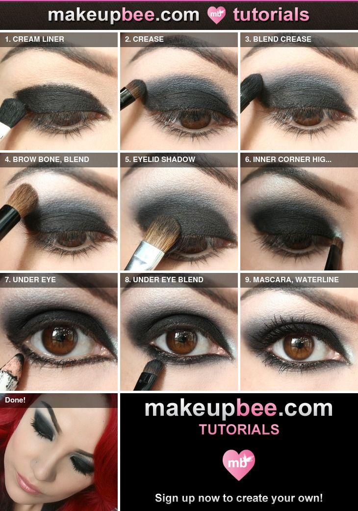 Step-By-Step Tutorial For Nightfall Black Eyeshadow Made Easy! | Goth Makeup | Pinterest ...