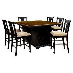 Sun & Pine 7pc Country Storage Counter Height Table Set - Cherry and Black