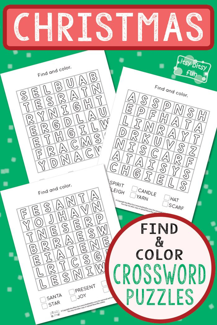 Christmas Find and Color Word Search Puzzles | Christmas Activities ...