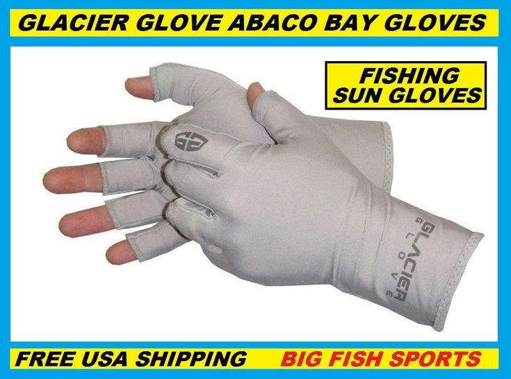 GLACIER ABACO BAY FINGERLESS FISHING SUN GLOVES PICK YOUR SIZE #009GY +50UPF #GLACIER #HalfFingerFingerless