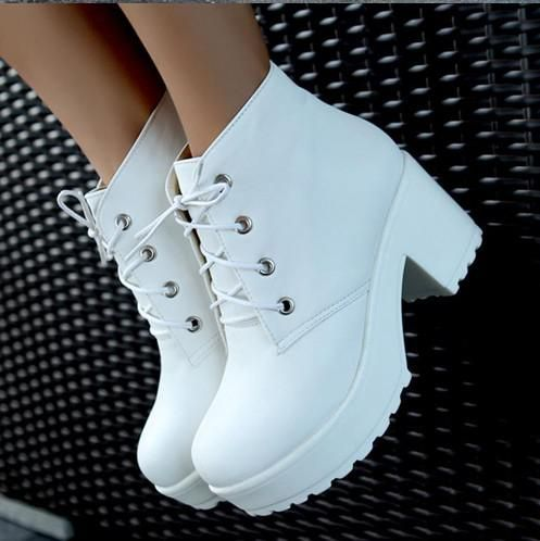 Locomotive Boots Platform Shoes Short Boots Women Chunky Heel Ankle Boots Knight Boots White Black #435421 Sporto Boots