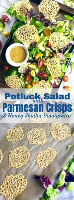 What is Potluck Salad with Herb Parmesan Crisps, you say? Well, it's a super simple salad with homemade Honey Shallot Vinaigrette and buzz-worthy Herb Parmesan Crisps that take the place of the crouton crunch. The Vinaigrette is sweet, tangy, creamy, and has a slight bite from the mild shallots. But the real hero of the dish that will get guests talking, are the Herb Parmesan Crisps, which are salty, nutty, crispy, delicious & addictive...and so easy to make!  #salad #parmesan #potluck