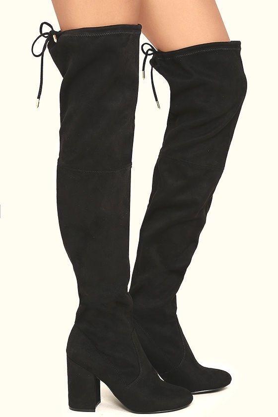 500af7a3968 STEVE MADDEN NORRI OVER THE KNEE BOOTS 7.5 Black Faux Suede Block Heel OTK  Shoes  SteveMadden  OverTheKnee  Any