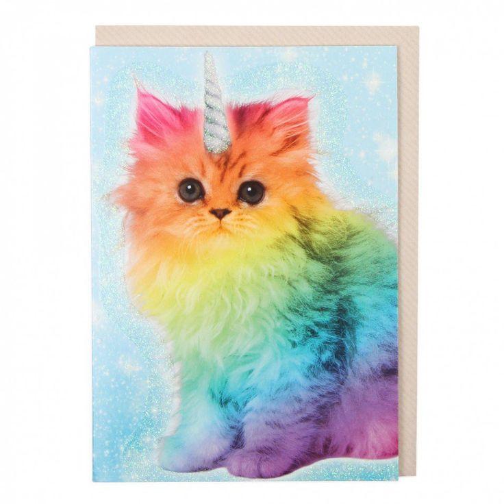 Rainbow unicorn cat card | Rainbow cat, Cats and kittens ...