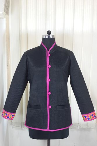 Quilted Black Silk Jacket
