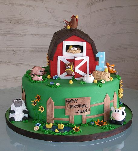 Farm birthday cake for Jackson 1st birthday! The barn could come off and be Jacks's cake.