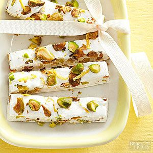 Traditional nougat takes on the fresh flavors of lemon and pistachios ...
