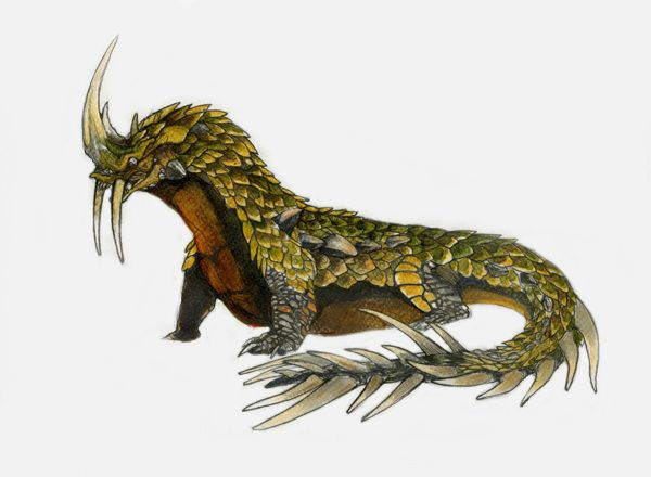 Dingonek (African Cryptid) - A strange mixture of sabretooth tiger and pangolin, these pets of the Yeitso serve them much like a dog serves a human. They are agressive hunters that have the armor of a herbivore to add to their horror.