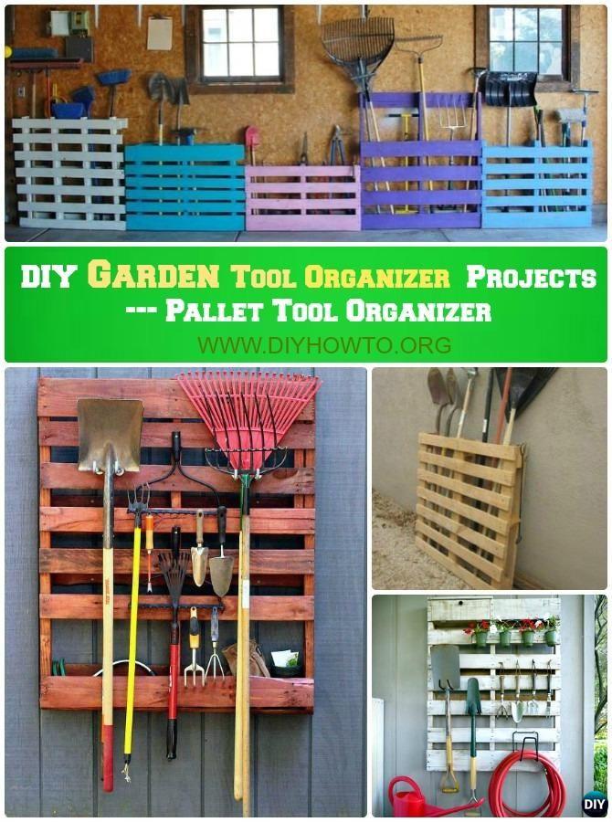 DIY Pallet Garden Tool Rack Organizer Instruction-DIY Garden Tool Organizer Ideas  #Garden, #Garage