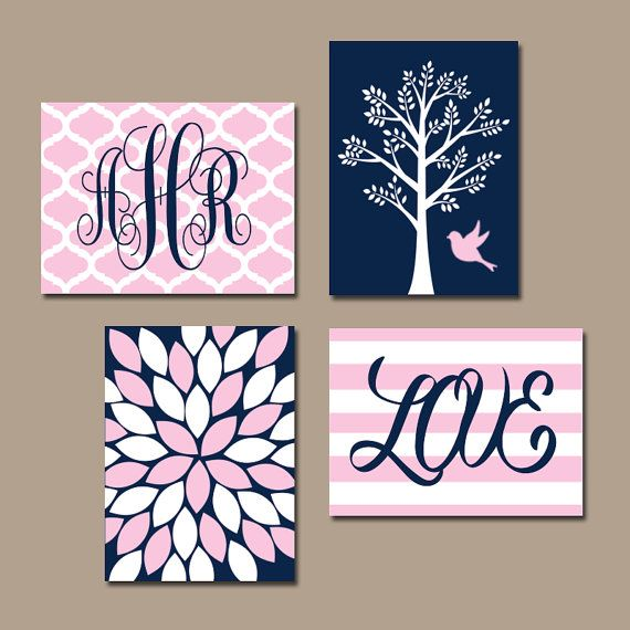 Hey, I found this really awesome Etsy listing at https://www.etsy.com/listing/166162880/navy-pink-nursery-wall-art-baby-girl