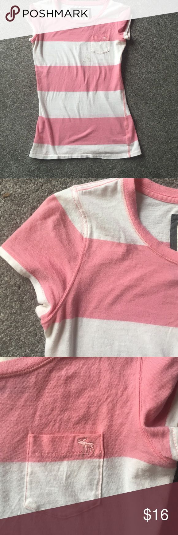 Abercrombie and fitch short sleeve shirt Abercrombie and fitch tshirt. Light pink and white stripes. It has kind of a cap sleeve. Like new no flaws!! Will be cleaned before being mailed out! 20% off bundles and excepting all reasonable offers. Would fit xsmall also Abercrombie & Fitch Tops Tees - Short Sleeve