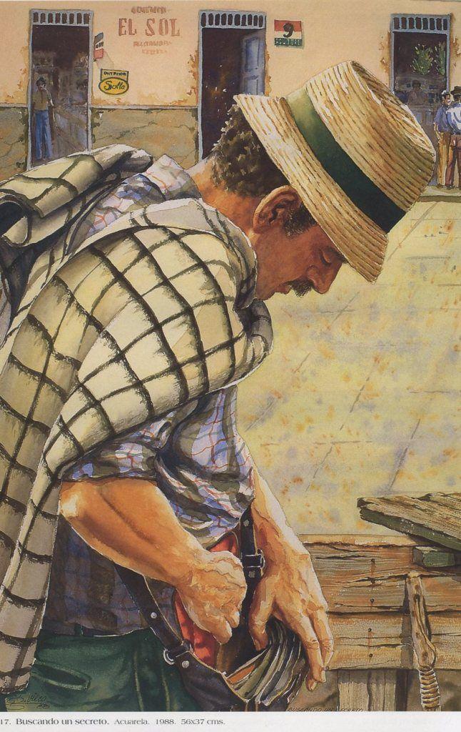 Germán Vieco Betancur Buscando un secreto. Acuarela. 56 x 37 cms. 1988
