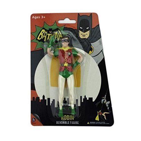 DC Comics DC 3922 Batman Classic TV Series Burt Ward as Robin Bendable Figure, Multicolor