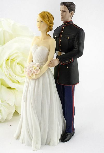 Marine Wedding Cake Topper - Caucasian Bride and Groom
