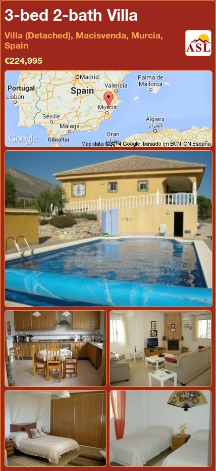 3-bed 2-bath Villa in Villa (Detached), Macisvenda, Murcia, Spain ►€224,995 #PropertyForSaleInSpain #officesecuritygate