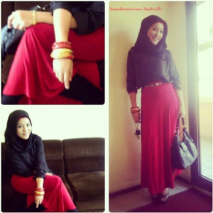 Kemeja satin > black <  Long skirt  > red < Bawal hijab >black<   Yeaah! Just enjoy u work at office