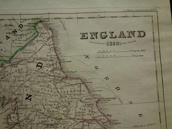 ENGLAND old map of England 1850 original hand by VintageOldMaps