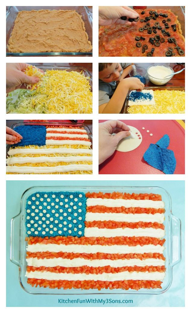 7 Layer Mexican Flag Dip for 4th of July from KitchenFunWithMy3Sons.com