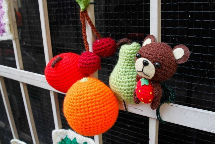 This teddy bear and his fruity friends is part of the BrisAsia Festival in Brisbane.  (Image: ABC/Jessica Hinchliffe)