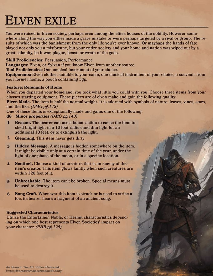 [5e] New Background - Elven Exile
