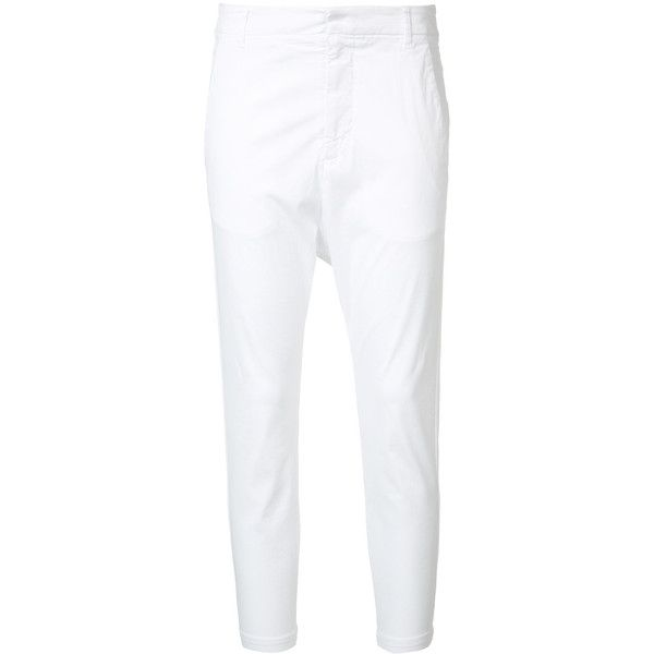 Nili Lotan Cropped Trousers ($452) ❤ liked on Polyvore featuring pants, capris, white slim fit pants, slim fitted pants, nili lotan pants, slim fit trousers and white cropped trousers