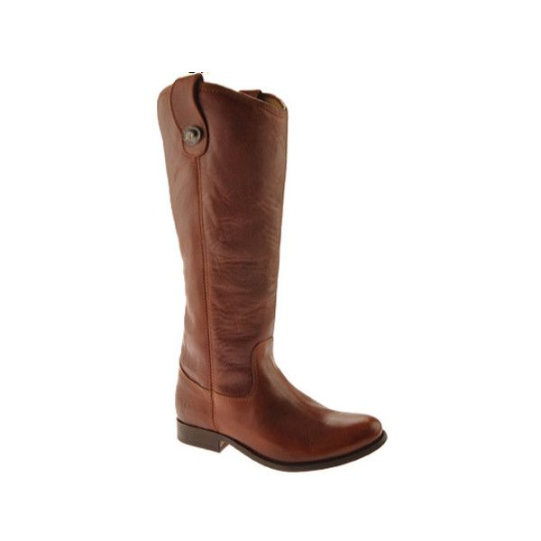 Women's Frye Melissa Button WIDE CALF ($221) ❤ liked on Polyvore featuring shoes, boots, brown, casual, riding boots, motorcycle riding boots, tall riding boots, brown leather boots, motorcycle boots and knee high boots