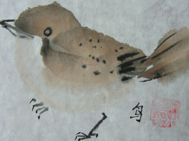 Sparrow -  Spatz#Chinese brush paints
