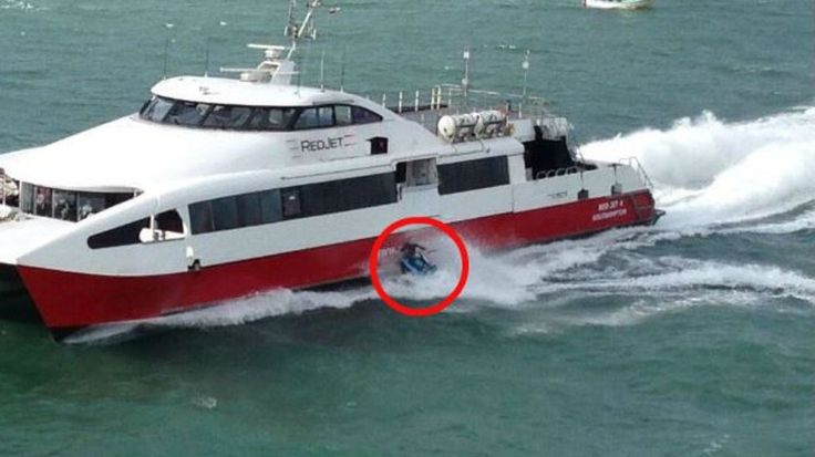 Man on water scooter ploughs into ferry off Southampton #water #scooter #ploughs #ferry #southampton