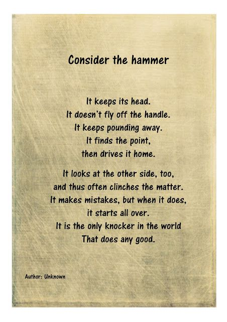 Read, Learn and Shine: Consider the hammer