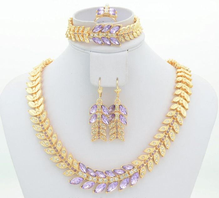 Wedding Gold Necklace With Earrings