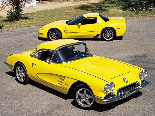 1960 Chevrolet Corvette Roadster 2002 Chevrolet Corvette Z06 Yellow Roadster Passenger Side Front View Z06 Driver Side View