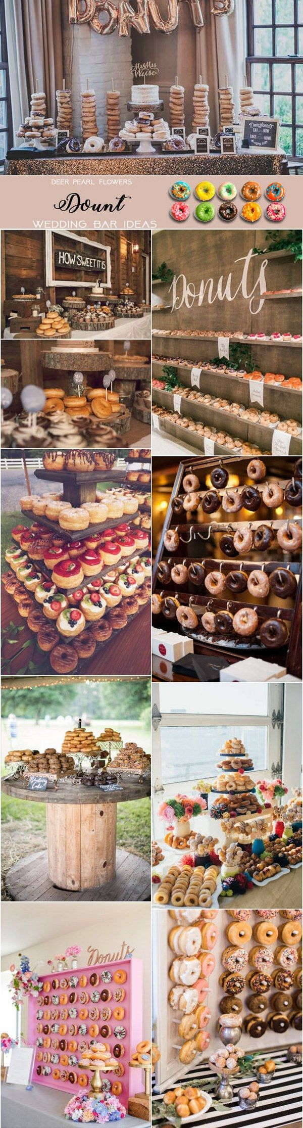 Dount wedding dessert food bar ideas for wedding reception / http://www.deerpearlflowers.com/wedding-catering-trends-dessert-bar-ideas/2/