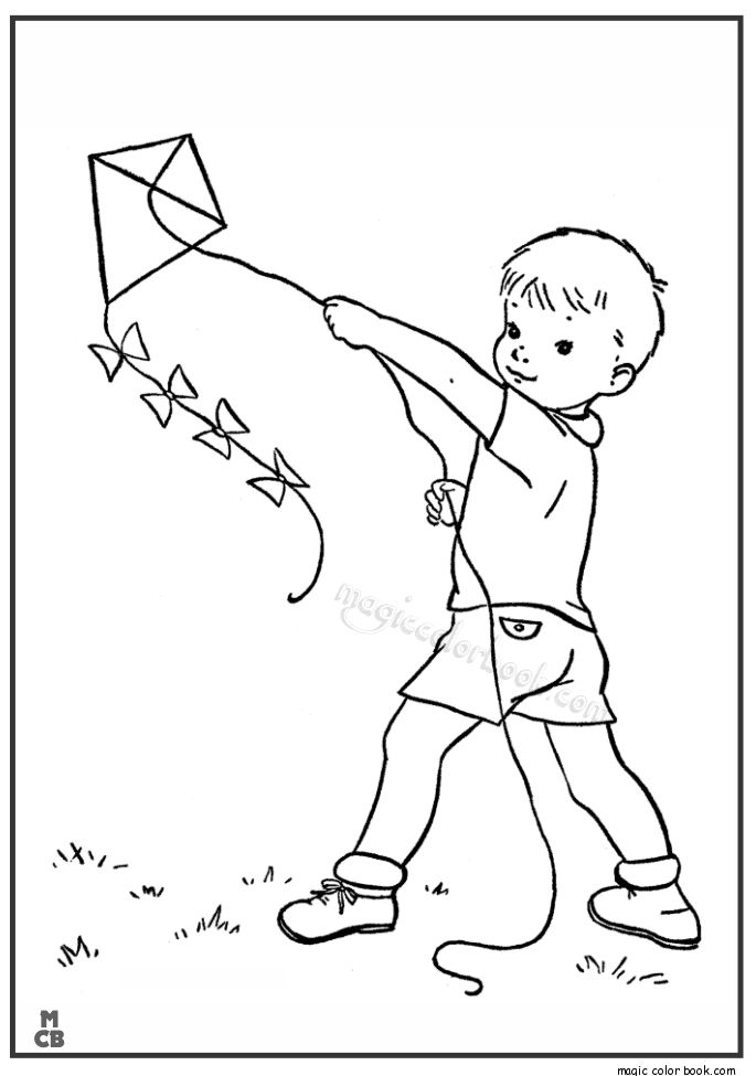 Kid Playing Kite Spring Coloring Page