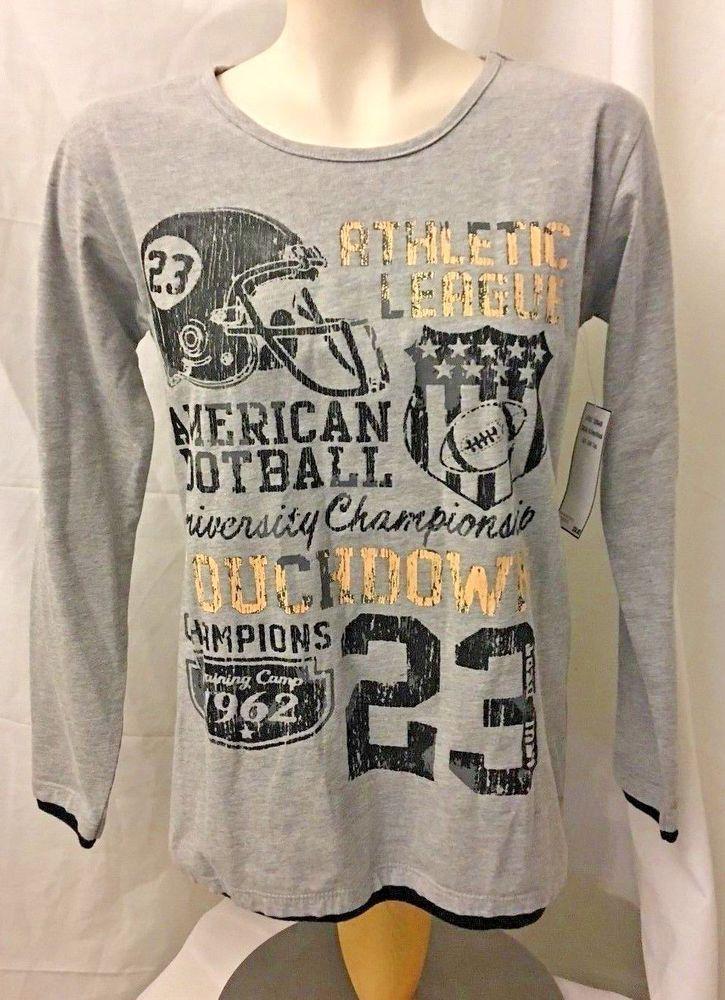 Boys Size XL 18/20 American Football Gray Long Sleeve Tee Shirt Top Team 8  #Team8 #Everyday