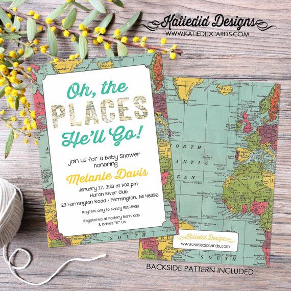 oh the places you will go invitation map travel baby shower retirement bridal shower couples world travel bash you'll he'll she'll item 1294