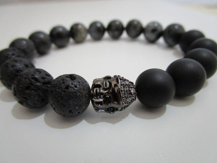 Pulsera Onix,Lava volcanica y Labradorita,Pulsera piedras semipreciosas,Pulsera para mujer,Regalo para mujer,Buda,Pulsera tibetana de Lenajoyas en Etsy