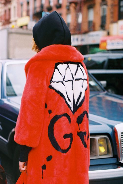 """gucci: """" Mallory Merk, 16, in a GucciGhost GG diamond plush coat, her own black hoodie and black sweatpants. Produced by Vogue for Gucci. """""""