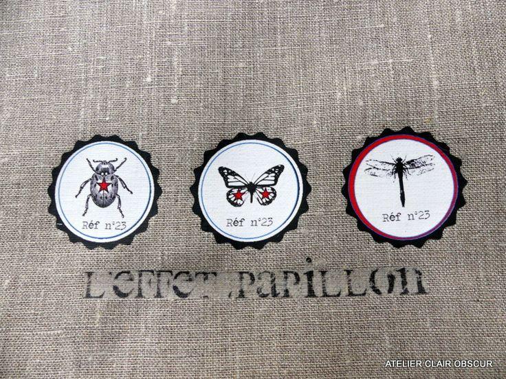 coupon de tissu à coudre graphisme insectes : Déco, Customisation Textile par atelier-clair-obscur