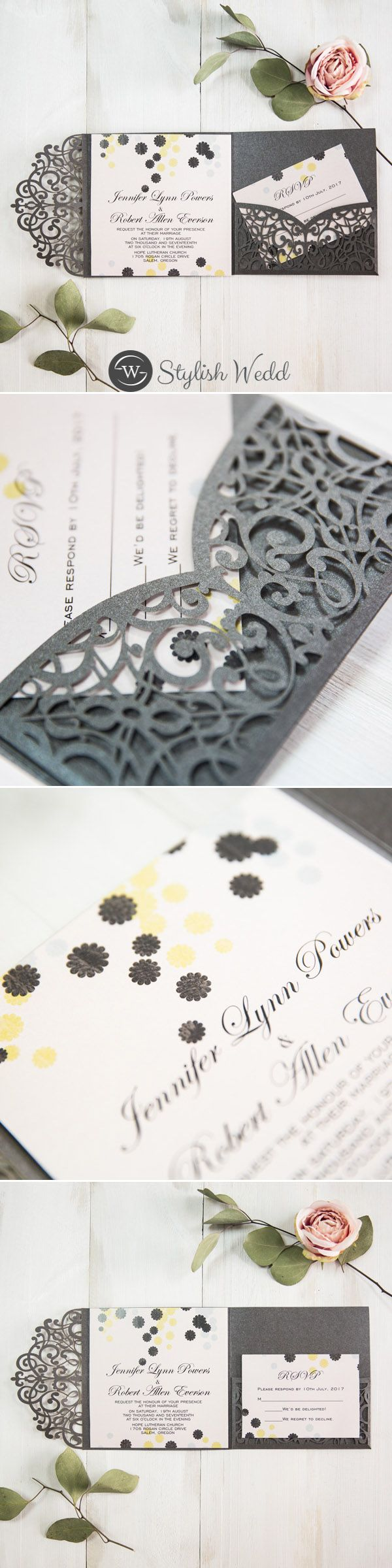 Black Laser Cut Pocket with Scalloped Circle  Patterned Invitation SWWS060