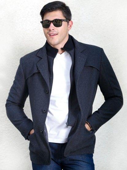 Férfi téli kabát STYLER - sötétszürke