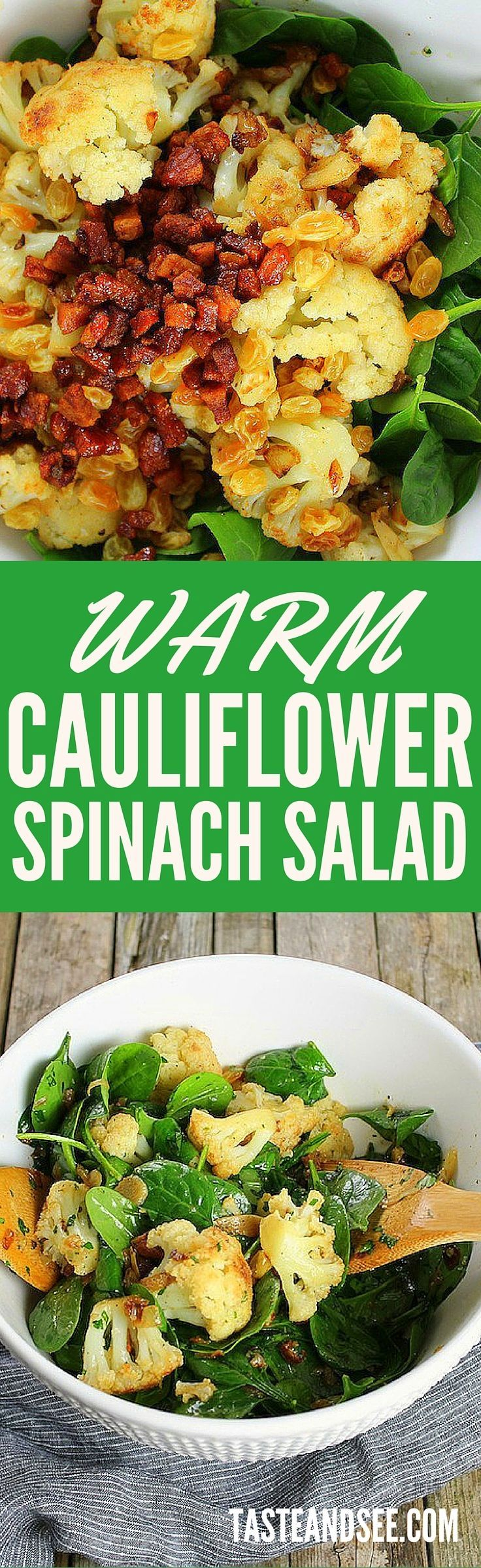 Warm Cauliflower Spinach Salad With Pancetta and Golden Raisins - it's the perfect winter salad... healthy, hearty, and full of flavor!  http://tasteandsee.com