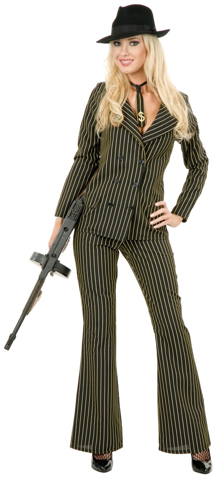 female gangster moll suit costume - Female Gangster Halloween Costumes