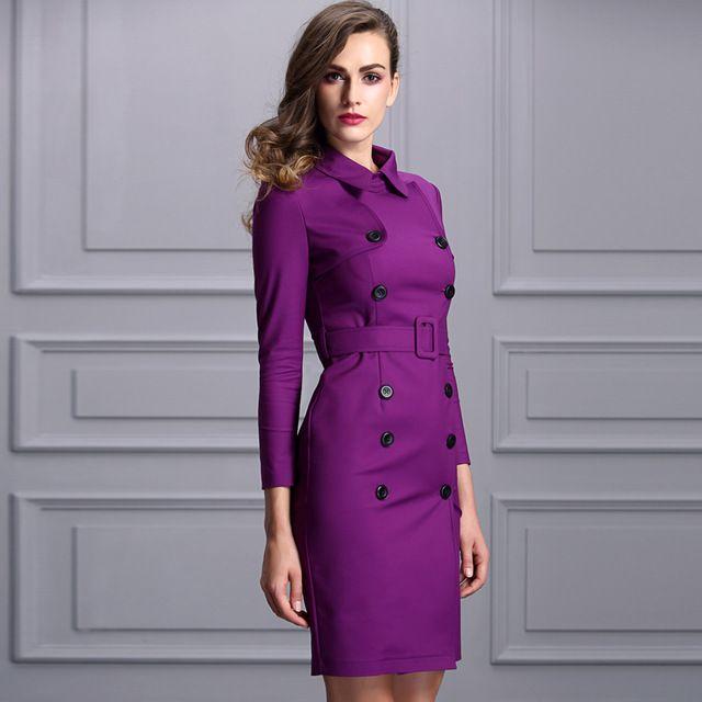 2017 женщина Тонкий траншеи Dress фиолетовый твердые midi двойной брестед тренч outwears желтый пояс