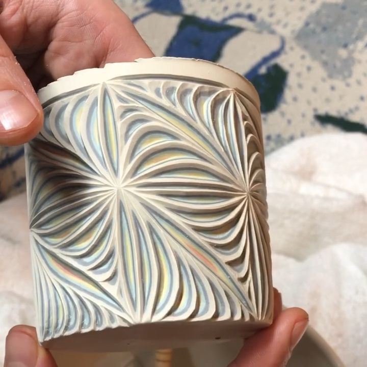 Hand carved colored porcelain
