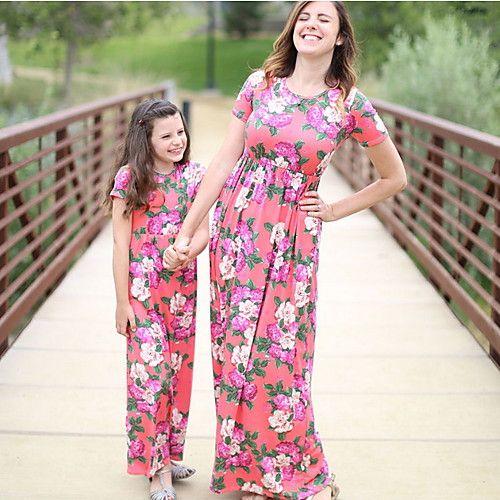 maman et moi rouge bleu clair ete basique imprime fleurie