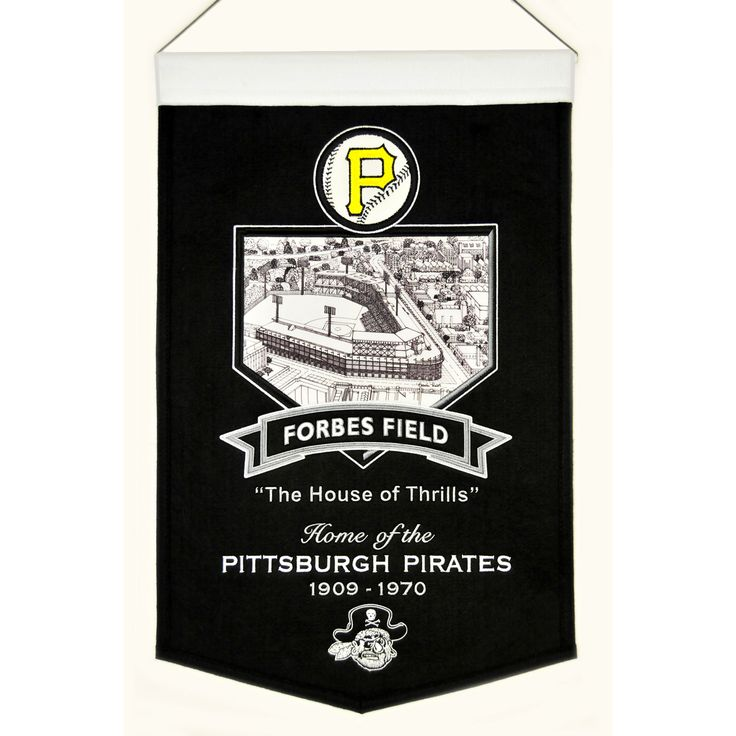 "This beautifully embroidered 15"" x 20"" banner celebrates the proud tradition of the Pittsburgh Pirates and their famed Forbes Field Stadium. This banner is constructed from wool and includes embroidery and applique. A hanging rod and cord are included for easy hanging."