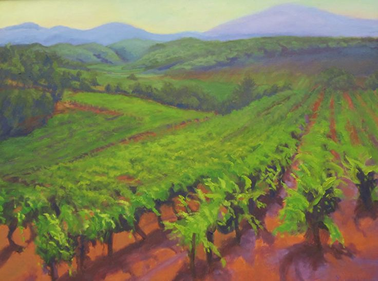 "Vineyard Ready for Harvest by Charlotte Lewis Oil ~ 22"" x 28"""