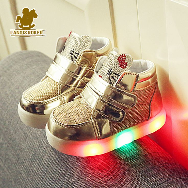 New Baby Girls LED Light Shoes Anti-Slip Sports Kids Sneakers Children's Hello Kitty Chaussure Enfant Size 21-25  #me #men #belts #sunshades #selfie #wallets #money #graduation #bride #newarrivals #sexyshoes #mensfashion #baby #photooftheday #sale