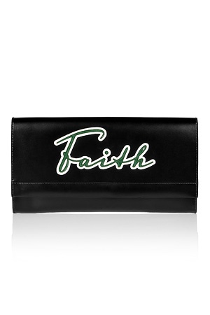 Black Faith Embroidery Clutch von JIL SANDER: Sander Clutches, Faith Clutches, Leather Clutches