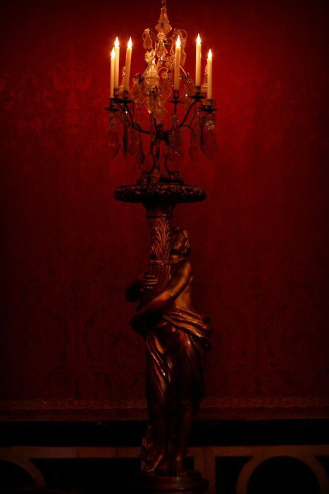 .Gothic Home, Red Wall, Palaces Of Versailles, Gothic Victorian, Candles, Queens Red, Victorian Decor, Red Room, Dark Red
